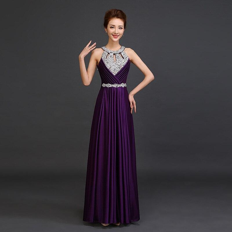 Sexy licou une ligne longue élégante robe de soirée grande taille bleu Royal Lusty Satin robe de bal en cristal perlé une ligne perles robe de soirée