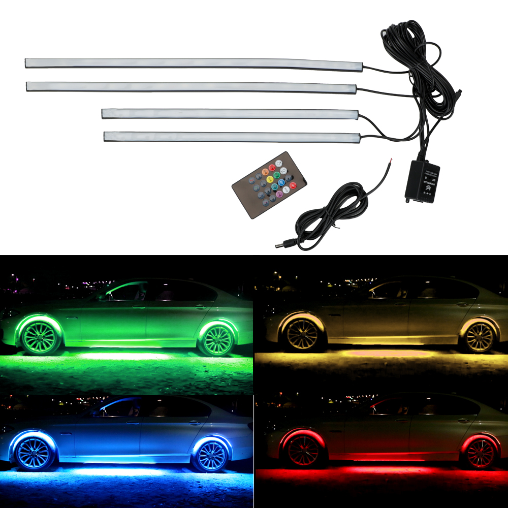 LEEPEE 4x 8 Colors Underbody Decorative Light Music Active Sound Control Auto LED Strip Neon Light Car Bottom Atmosphere Lamp