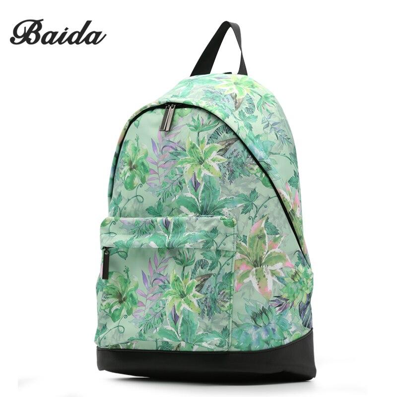 BAIDA Fashion Women Printing Backpack Green Ladies Cool Flower Leather back backpacks Soft Fabric Waterproof Rucksacks