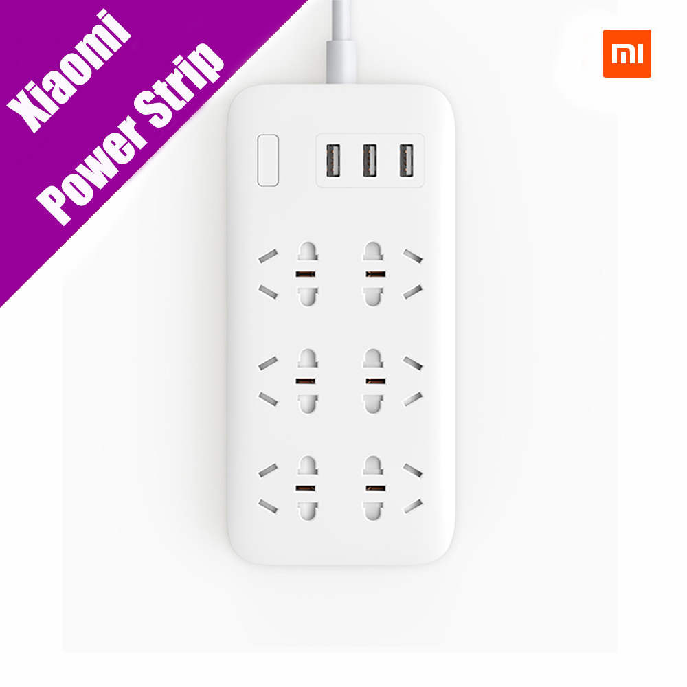 Original Xiaomi Mijia Power Strip 2A Fast Charging 3 USB Extension Socket Plug 6 Standard Socket