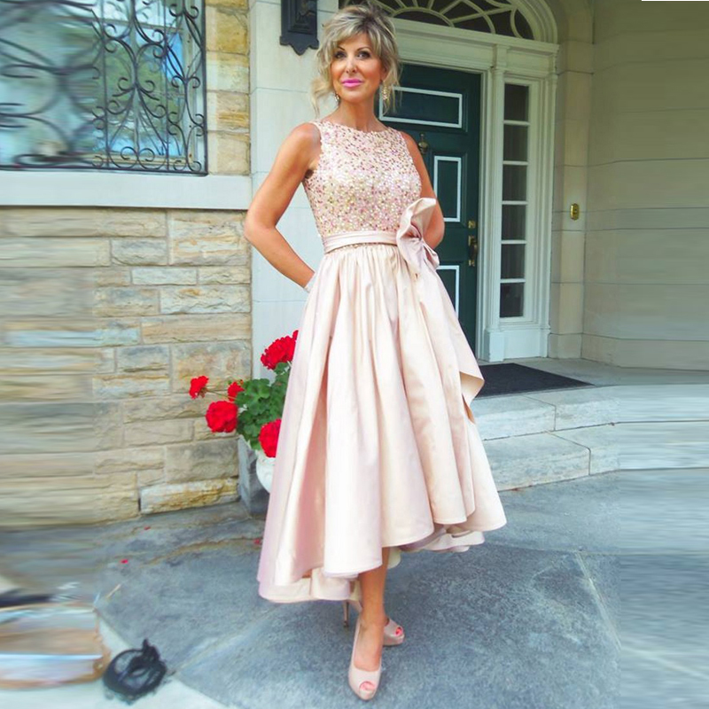 Beaded-Tops Short Prom-Gown Pleated Mother-Of-The-Bride-Dresses Wedding-Party Long-Back