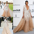Prom Dresses 2017 Pageant Dress Formal Evening Gown Party With Long Sleeve Deep V Neck Champagne Sweep Train Cheap