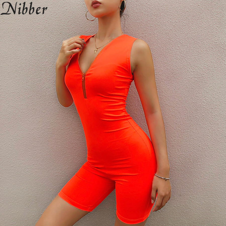 Nibber summer Neon color basic short sleeve women playsuits 2019 fashion Casual Street Sportswear ladies Jogging suit jumpsuit in Rompers from Women 39 s Clothing