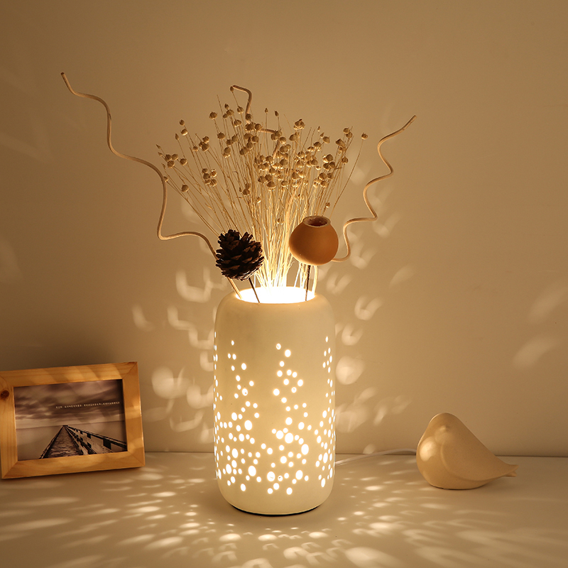 Creative Retro American Ceramic Table Lamp Bedroom Bedside Lamps Art Deco Light Decorative Lights DeskLamp Table Lamps Modern art ceramic