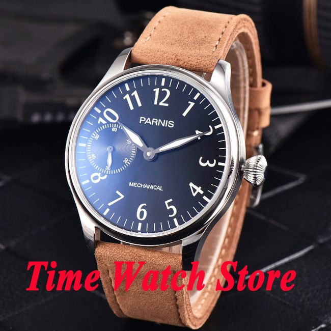 44mm Parnis black dial luminous 17 jewels mechanical 6497 hand winding movement mens watch 800 46mm parnis black dial rose gold 17 jewels 6497 hand winding mens watch p546