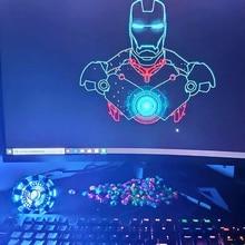 лучшая цена Self Assembly Endgame cool 1:1 scale Iron Man Arc Reactor A generation of glowing DIY  iron man heart model with LED Light
