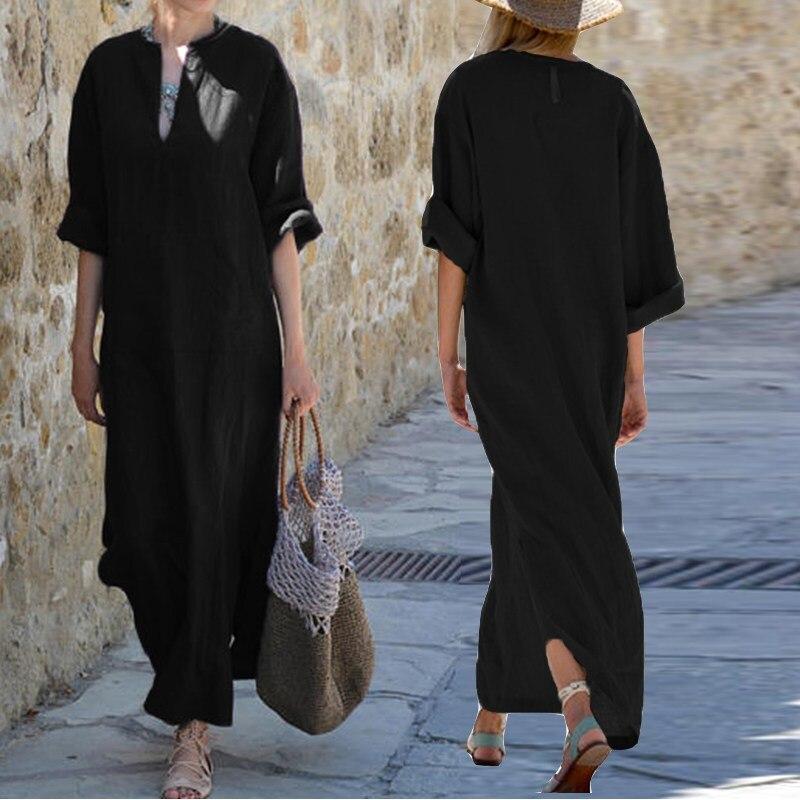 Women Vintage Maxi Long Dress 19 Celmia Summer Autumn Sexy V Neck Long Sleeve Split Casual Loose Linen Vestidos Kaftan S-5XL 7