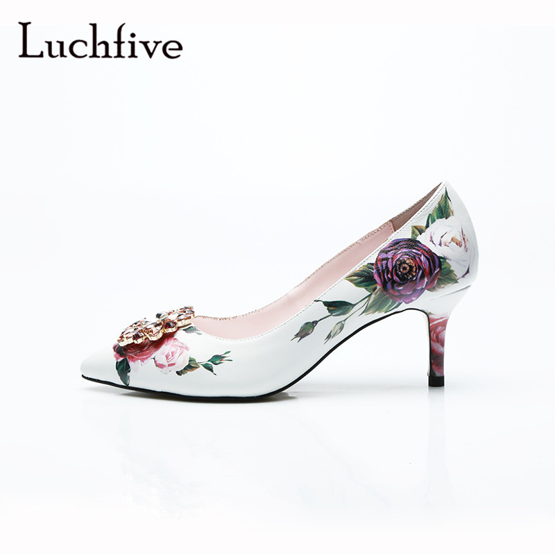 Rinestone genuine leather pointed toe flower women pumps sexy thin high heels shoes women white slip on crystal zapatos mujer