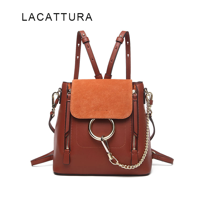 LACATTURA Famous Brand Design Women Backpack High Quality Genuine Cowhide Leather Cloe Bag Casual Chain Shoulder Bag With Ring