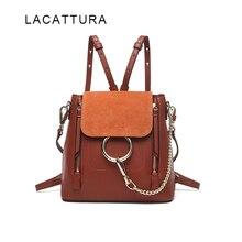 LACATTURA Berühmte Marke Design Frauen Rucksack Hochwertigem Echtem Rindsleder Cloe Tasche Lässig Kette Schultertasche Mit Ring