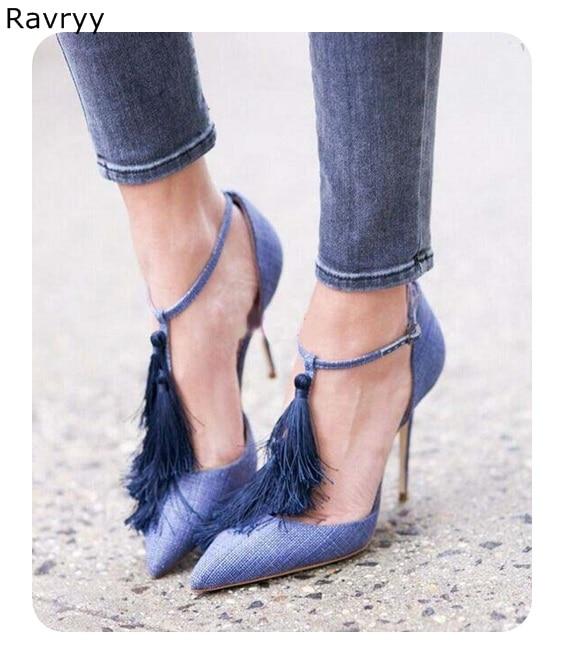 Pompes Mince Stiletto Chaussure Boucle Bout Bleu Pointu Noir Seule De Talons Décor Gland Cheville As Femelle Femme Picture Haute Sexy Talon Robe Chaussures xU7UR86n