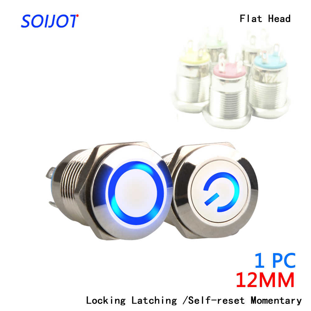 1pc 12mm Metal  Push Button Switch Flat Head  Ring/Power LOGO  3-220V Self-reset Momentary/locking Waterproof Car Auto Eng