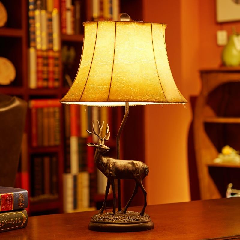 American country bedroom bedside lamp warm continental retro elk wedding celebration creative study room table lamps LO72614