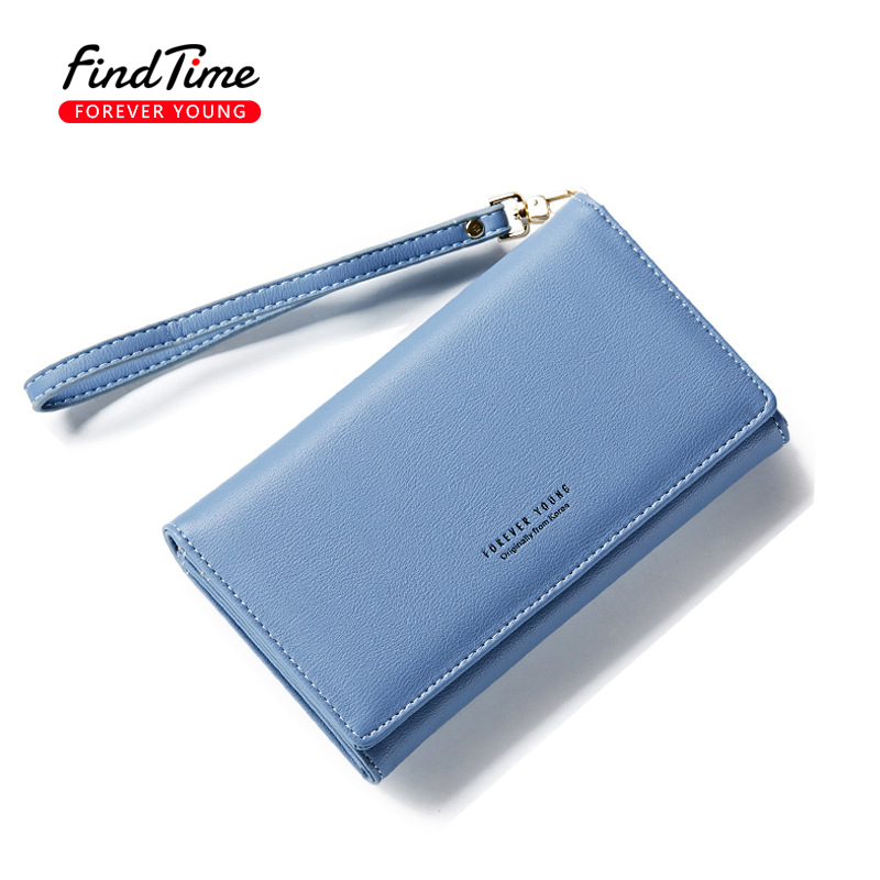 FINDTIME Women Leather Long Wallet Female Zipper Mobile Phone Bag Girls Simple Beautiful Fashion Purse Handbag Long Rope Clutch