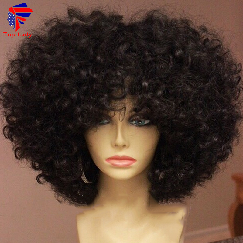 7a Unprocessed Kinky Curly Glueless Full Lace Wigs