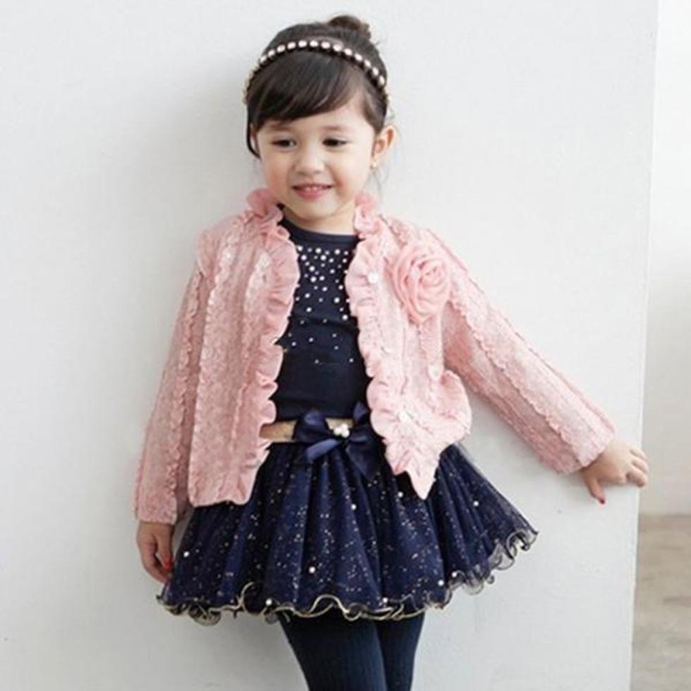 3PCS Girls Princess Sets Suit Baby Coats + T-shirt +Skirt Tutu Pink Girl Casual Party Clothes New!