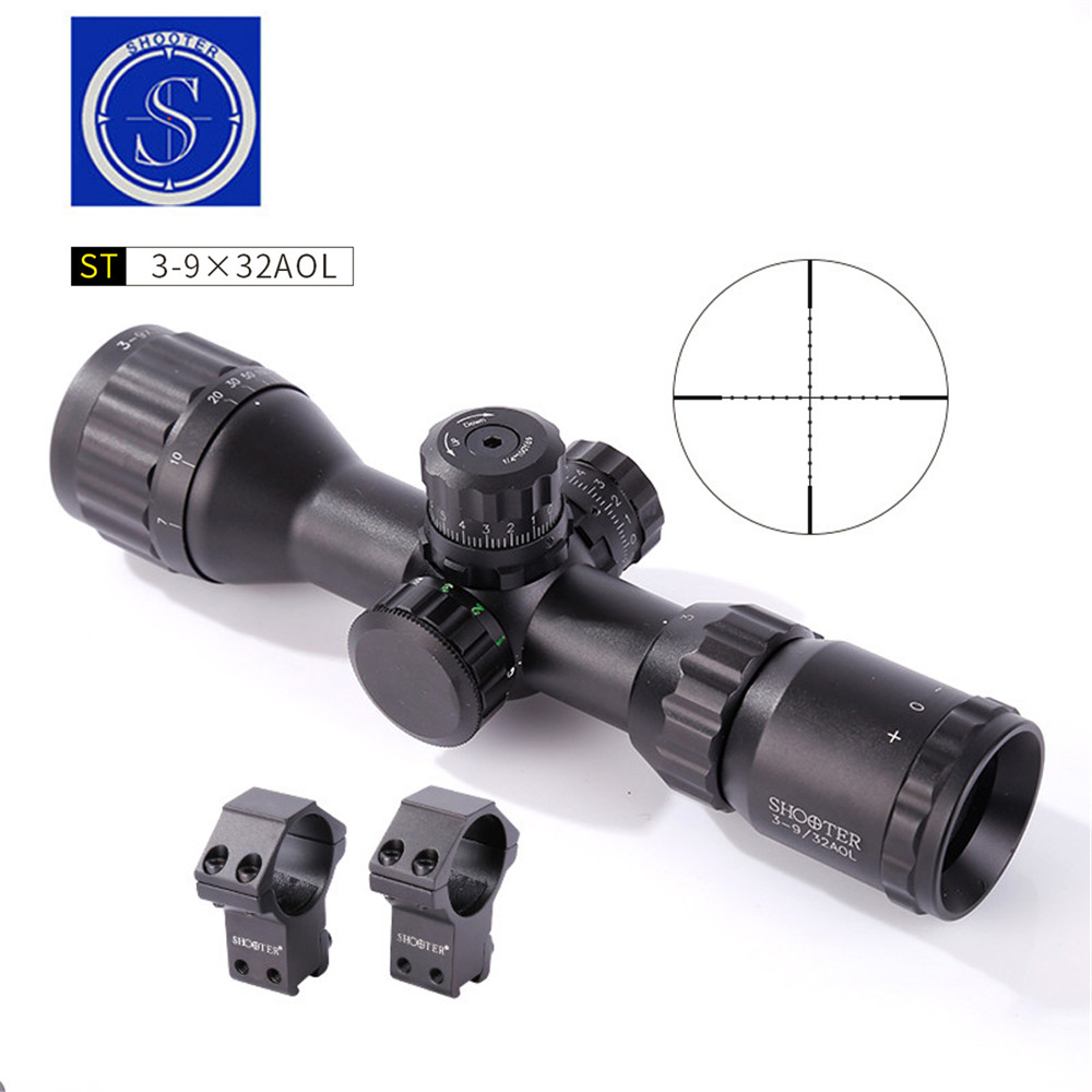 3-9X32AOL Tactical Optic Scope Sights Riflescope Monocular Telescope Hunting Spotting Scopes With Two Mount Device Accessories universal cell phone adapter mount binocular monocular spotting scope telescope and microscope accessories