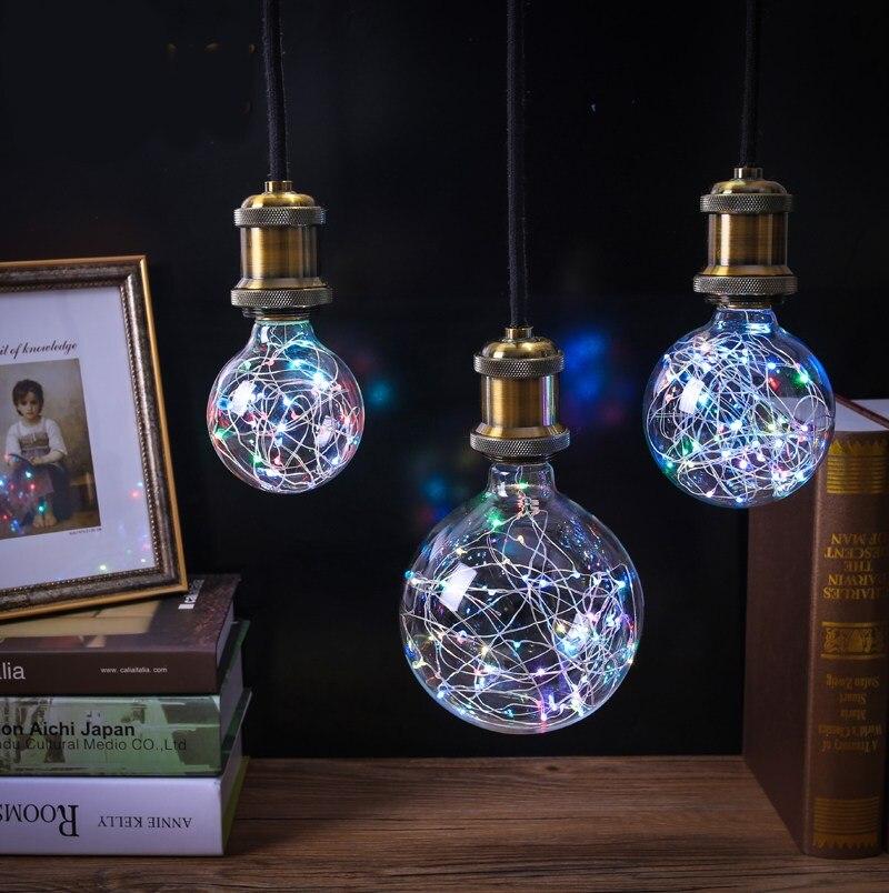Smuxi G80/G95/G125 String Light Bulb Retro Art Design Edison Style Filament Copper Wire Starry Light Bulb RGB