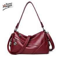 Angel Voi 2017 Fashion Women Genuine Leather Handbags Sheepskin Messenger Bags Female Crossbody Small Lady Lambskin
