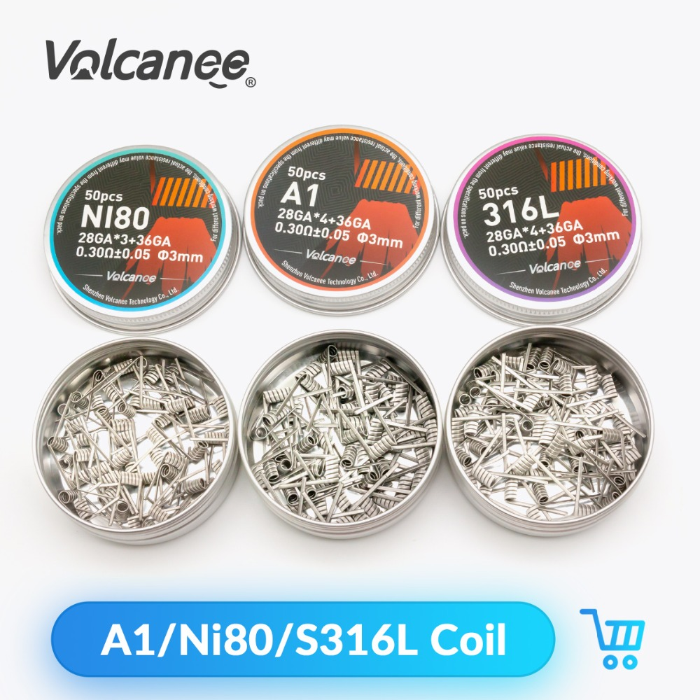Volcanee 50pcs A1 NI80 SS316L Coils Alien Fused Clapton Prebuilt Coil Nichrome For E Cigarette Resistance Vape DIY Heating Wire
