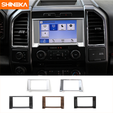 SHINEKA Media GPS Cover Trim Decoration Ring Navigation Panel Frame Sticker for Ford F150 2015 2016 Car Styling