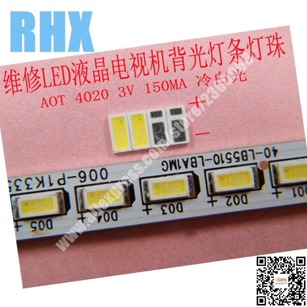 100 шт./лот для ремонта Haier TCL Hisense ЖК-дисплей ТВ светодиодная подсветка Статья лампа SMD светодиоды АОТ 3 В <font><b>4020</b></font> холодный белый светодиод