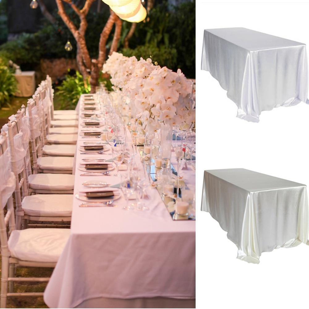 Ev ve Bahçe'ten Masa örtüleri'de Fildişi 5 adet/paket 90x132 inç Dikdörtgen Saten Masa Örtüsü Masa örtüsü için Düğün Parti Restoran Ziyafet Süslemeleri'da  Grup 2