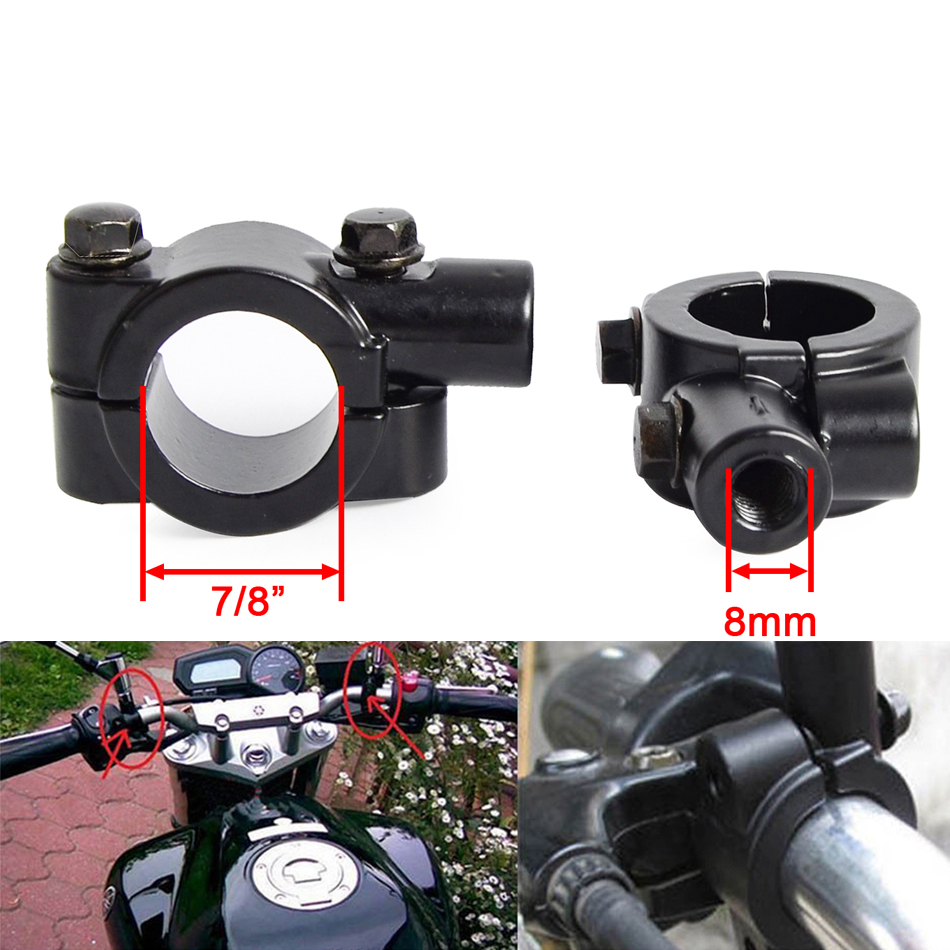 2pcs Motorcycle Handlebar Mirror Mount Mirrors Holder Clamp for 7//8 inch Handle Bar Sports Bike Kawasaki Honda Yamaha 10mm