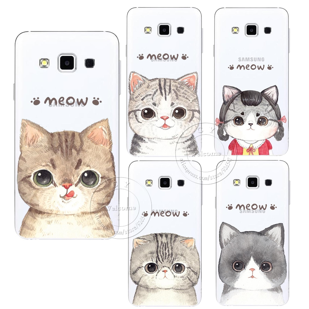 new concept 7f237 592d6 US $1.28 35% OFF|Fashion Super Cute Cat Hard Case Cover For Samsung Galaxy  S3 S4 S5 Mini S6 S7 Edge S8 Plus Note 2 3 4 5 8 A3 A5 A7 A8 J1 J5 J7-in ...