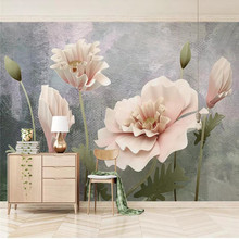 3D wallpaper new texture background stereo flower TV wall custom mural photo