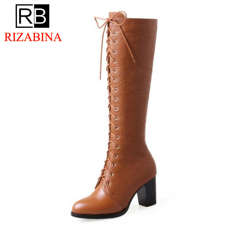 RIZABINA Women Genuine Leather Knee High Boots Lace Up Winter Warm Shoes For Women Thick High Heels Fur Knight Boots Size 34-39RIZABINA Women Genuine Leather Knee High Boots Lace Up Winter Warm Shoes For Women Thick High Heels Fur Knight Boots Size 34-39