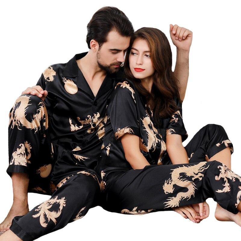 Men Pajamas Set Print Chinese Dragon Satin Silk 2 Piece Pyjamas Set Couples Short-sleeved  Rayon Home Wear Nightwear
