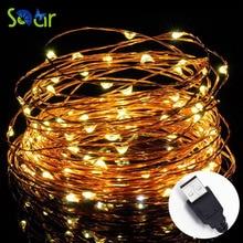LED String Lights 33 фута со 100 светодиодами SDAR Водонепроницаемые декоративные светильники для спальни Patio Party Медные проволочные огни Теплый белый