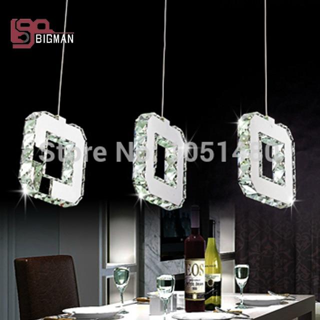 218 0 10 De Reduction Ventes Chaudes Moderne Table A Manger Led Pendentif Lumiere Chrome Plaque 3 Allume La Lampe De Cristal Dans Lampes
