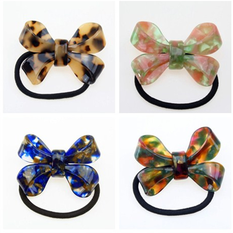 Korea Hair Accessories Colorful Acetate Sheet Tie  Rubber Headband For Girls Elastic Band
