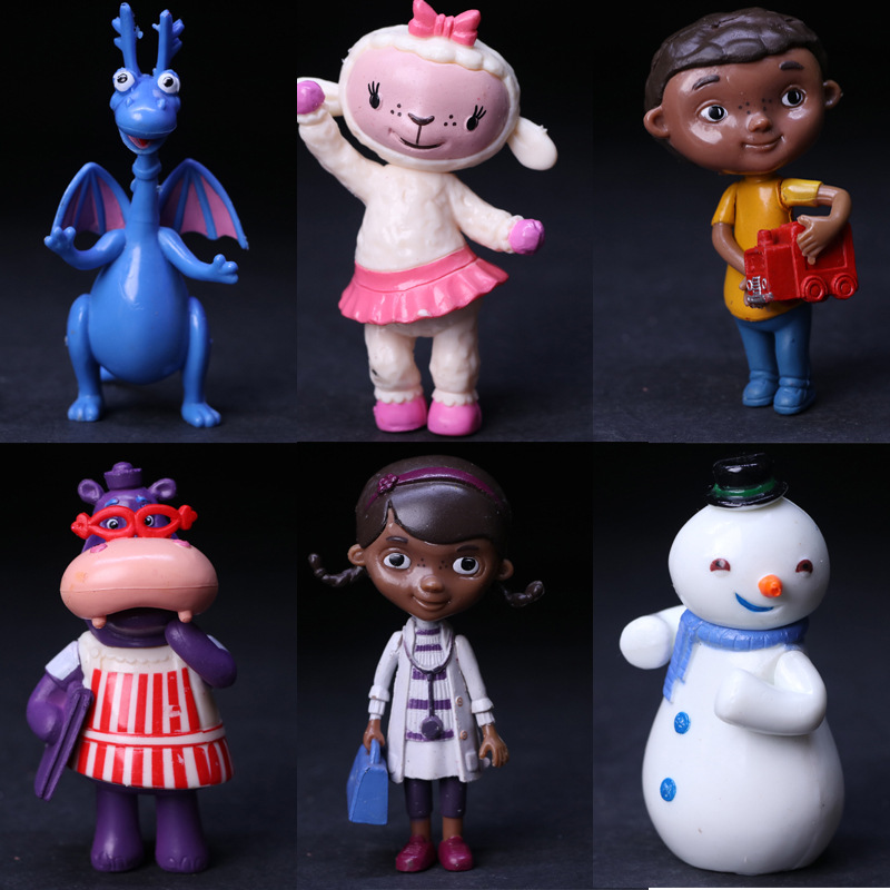 6pcs/set Popular Doc McStuffins Doctor and Friend Girls & Dragon & Sheep & Hippo 5-8cm Action Figure toys childrens gift