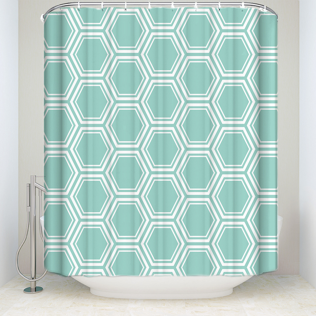 Waterproof Geometric Shower Curtain With Hooks Polyester Fabric Moroccan Style Mint Green Bathroom Curtains For Home