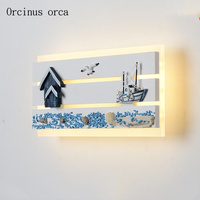 Mediterranean creative boat anchor wall lamp child room boys and girls bedroom decorative thermometer personality LED wall lamp