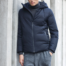 Mens Casual Down Jackets Winter Coat Thick Warm Short 90% Duck Down Chinese Japan Style Solid Black Basic Christmas Nakali M1104