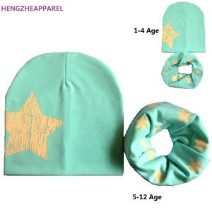 HENGZHEAPPAREL Baby Cotton Hat Scarf Set Child Caps beanies