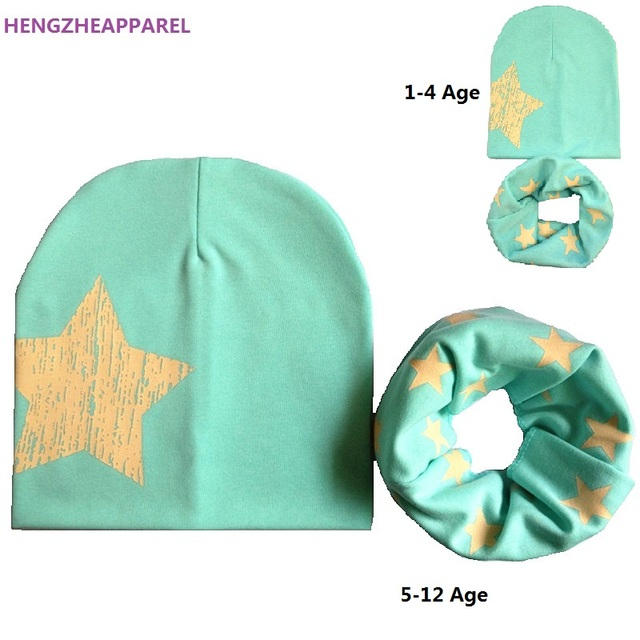 For 1-12 Years Old Baby Kids Children Hat Boys Girls Autumn Winter Cotton Hat Scarf Set Child Beanies Caps