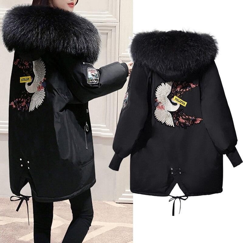 New 2018 Plus Size Women L - 5XL Winter Warm Thick Parkas Cotton Outerwear Coats With a Hood Big Faux fur Collar