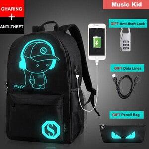 Image 5 - Senkey Stil Erkek Sırt Çantası Öğrenci Anime Işık USB Şarj Dizüstü Bilgisayar okul çantası Genç Için Anti theft Sırt Çantası Kadınlar