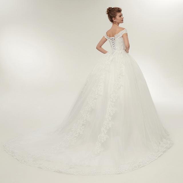 Fansmile Vintage White Long Train Wedding Dresses Vestidos de Noivas Plus Size Bling Bridal Gowns FSM-121T