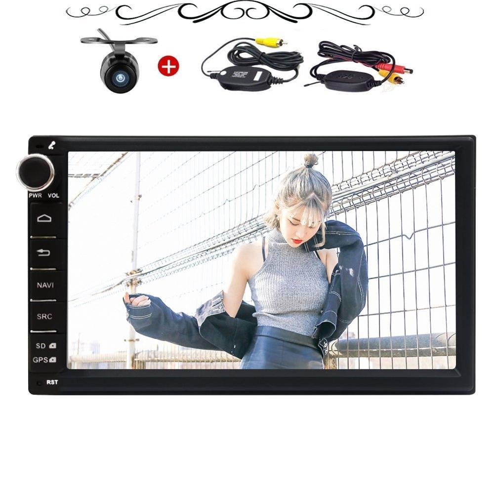 Caméra de recul sans fil + Android 7.1 8 Core voiture stéréo GPS Navigation 7 ''Radio Bluetooth USB lecteur d'unité de tête automobile DVR OBD2