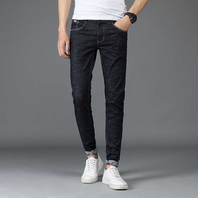 European Fashion bottom jeans men summer Autumn casual denim trousers slim small boot cut pants male Mini jeans ...
