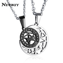 798d8cc6e5 NEWBUY Romantic Lovers' Jewelry 3 Colors Stainless Steel Sun&Moon Couple  Pendant Necklace For Women Men Forever Love