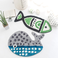 Cartoon Animal Modeling Fish and Whale Pattern Bathroom Mat Non Slip Water Absorption Children Room Rug Machine Washable Doormat