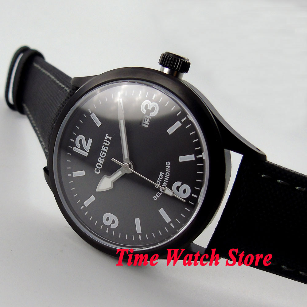 41mm corgeut black dial white marks luminous sapphire glass PVD case 20ATM MIYOTA Automatic men's watch cor69 все цены