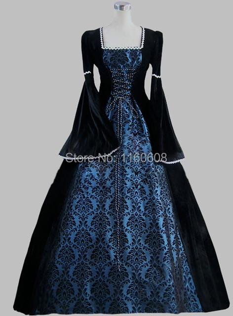 ère Black siècle imprimer victorienne 19ème bleu et Gothic robe xqPYaxw74